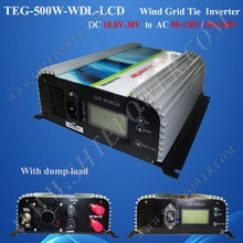 DC 12V/24V to AC 90-130V/190-260V 500W Wind Power Grid Tie Inverter With LCD and Dump Load(China)