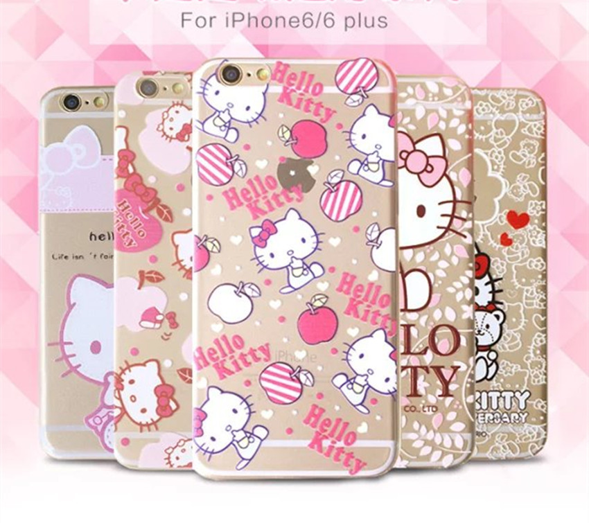 "Fashion Hello kitty Case For Coque iPhone 6 Case TPU Clear Pink Kitty Carcasa Funda For Capa Para iPhone 6s 4.7"" Cases Capinha(China)"