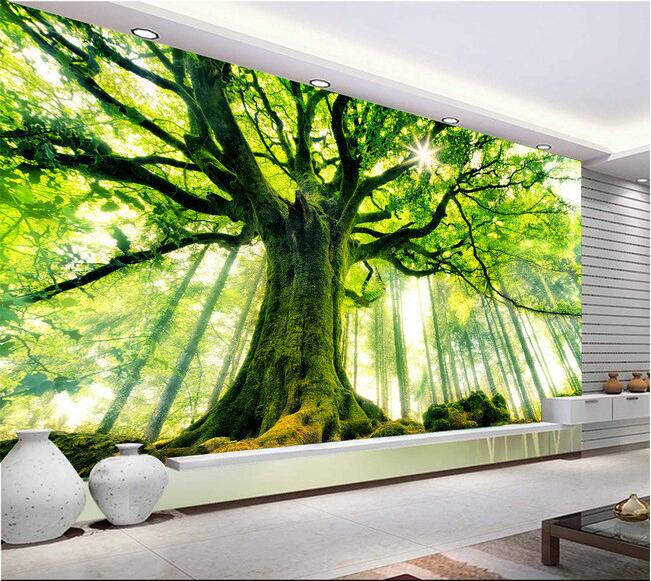 D Wallpaper Custom Mural Non Woven Wall Stickers Tree Forest Setting Wall Is Sunshine Paintings