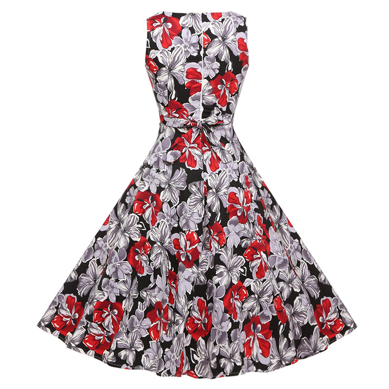 Kostlish Cotton Summer Dress Women 2017 Sleeveless Tunic 50s Vintage Dress Belt Elegant Print Rockabilly Party Dresses Sundress (82)
