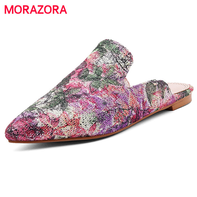 MORAZORA Big size 34-43 pointed toe women flats summer shoes printing Chinas style fashion shoes three colors <br>