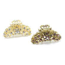 Vintage Flower Crab Hair Clip Hair Ornament Rhinestone Crystal Metal Hair Claw Clip For Women Alloy Jewelry 10 Colors Available(China)