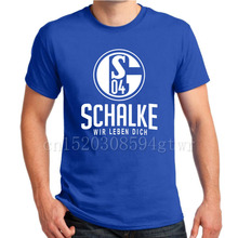 FC Schalke 04 Germany T shirt Camiseta Royal blue MINER Schalke 04 club fan T-shirt Moller Marc Wilmots Raul Howedes Huntelaar