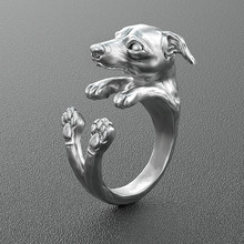 Free shipping 10pcs/lot  wholesale retro Italy Greyhound Ring free size hippie animal Greyhound dog Ring jewelry for pet lovers