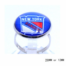 New York Rangers Ring Ice Hockey Charms NHL Sport Jewlery Round Glass Dome Silver Plated  Ring For Women Girl Adjustable