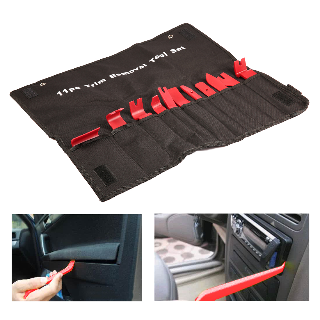 11pcs Professional Car Vehicle Door Dash Trim Tool Panel Molding Clip Retainer Removal Pry Tool Set Car Auto Tool Kit Hand Tool