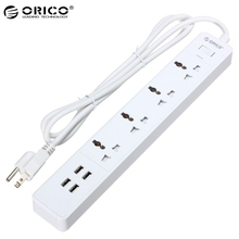 ORICO 4 AC Outlet Surge Protector Power Strip with 4 USB Charging Ports EU US Plug For iphone Cellphone Tablet