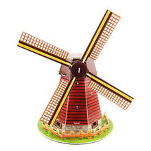 3D Puzzle Holland Windmill Building Model Educational Toys For Children DIY Kids Toys Puzzles(China)