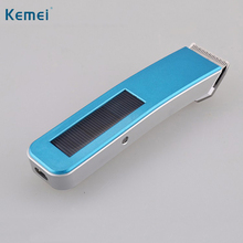 Kemei Solar Charging Hair Trimmer Rechargeable Clipper Electric Hair Trimmer Shaver Men Hair Cutter Battery Hair Clipper KM-578(China)