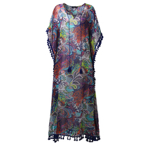ZANZEA Women Summer Dress 2017 Vintage Print Maxi Long Dresses Casual Loose Sexy Tassel Split Loose V Neck Vestidos Plus Size(China)