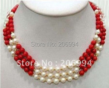 Wholesales Jewelry 3 rows Freshwater white pearl red coral necklace Free gift free shipping