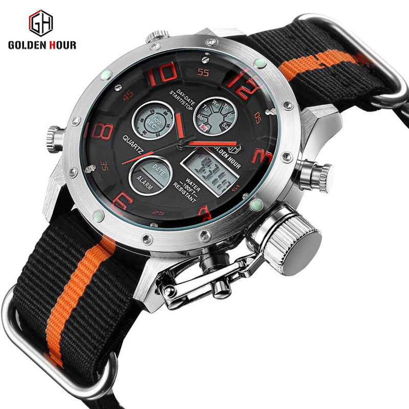 Top Luxury Nylon Strap Men Watch Fashion Casual Digital Led Display Military Sport Watches Relogio Masculino<br>