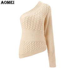 2018 Winter Knitted Sweater Beige One Shoulder Crochet Beige Color Women Pullover Office Lady Jumper 2018 Fall Fashion Tops(China)