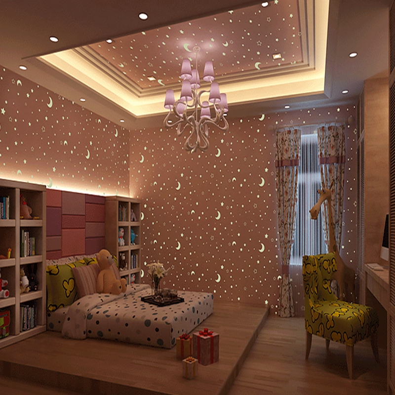 Non-woven Luminous Wallpaper Roll Stars And The Moon Boys And Girls Childrens Room Bedroom Ceiling Fluorescent Wallpaper Decor<br>