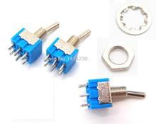 5xMini MTS202 Blue Toggle Switch DPDT Double Pole Double Throw 2 Positions ON-ON 250V 3A 125V 6A MTS-202