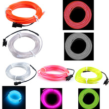 Hot Sale 3m Flexible Neon Light Car Party Glow EL Wire Strip Multi Colors Tube Fluorescent(China)