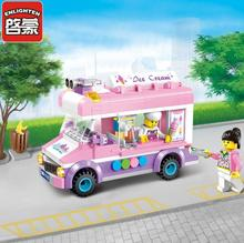 Girl Pink Ice Cream Car Blocks Toys Assembled Model Building Kits Car Blocks Toys Small Particle 3D DIY Educational Toys(China)