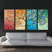 Unframed Colourful Leaf Trees Canvas painting 4 Piece Spray painting rectangle Wall Art Modular pictures for Home Decor(China)
