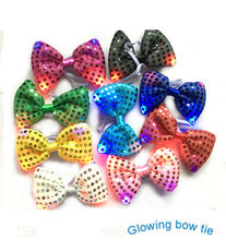 20/PCS Halloween Christmas Wedding Party Glowing tie light up toy Female/Male flashing led bow tie dancing stage decoration