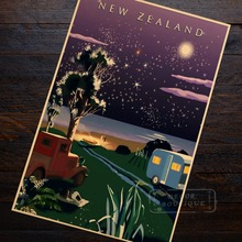 Star Sky Beauty View New Zealand NZ Landscape Travel Retro Vintage Poster Decorative DIY Wall Art Home Bar Posters Decor