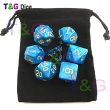 Top Quality 7pcs Mix color Magic Blue Dice Set with Nebula effect D4,6,8,2x10,12,20 rpg game Digital Dice dnd jouet dragon(China)