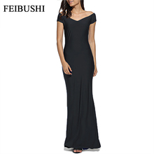 FEIBUSHI Elegant Mermaid Long Evening Dresse Women Summer Solid Blue Wedding Casual Sheath Party Ankle Length Mermaid Dress(China)