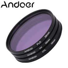 Andoer 58mm UV+CPL+FLD Circular Filter Kit Circular Polarizer Filter Fluorescent Filter for Nikon Canon Pentax Sony DSLR Camera
