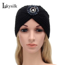 [Lakysilk]Women Fashion Headwear Winter Warm Hats Knitted Stretched Turban Soft Headbands Beanie Hat Crochet Headwrap with Beads