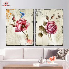 2 Piece Canvas Art Set Decorative Wall Pictures Abstract Flowers Modular Paintings on The Walls Home Decor Room Decoration(China)
