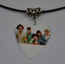5Pcs One Direction 1D Medium 0.71mm Guitar Pick Necklace , Tibetan Silver Pendant Leather Cord O-10