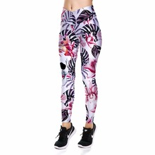 New Pink Flowers Sexy Hip Women Leggings Trousers Yoga Fitness Elastic Tights Girls Breathable Leafs Skulls Lady Gym Pants XS-XL(China)