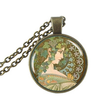 Alphonse Mucha Jewelry Glass Cabochon Pendant Necklace Mucha Ivy Art Picture Nouveau Necklace Neoclassical Flower Necklace Gifts(China)