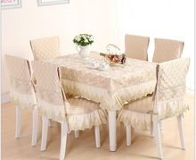 Traditional Chinese lace  tablecloth set suit 150*200cm table cloth matching chair cover 1 set price 2colors free ship