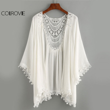 COLROVIE Vintage Crochet Kimono Tops Lace Trimmed Boho Blouse 2017 Women White Beach Summer Tops Sexy Cut Out Casual Slim Blouse(China)