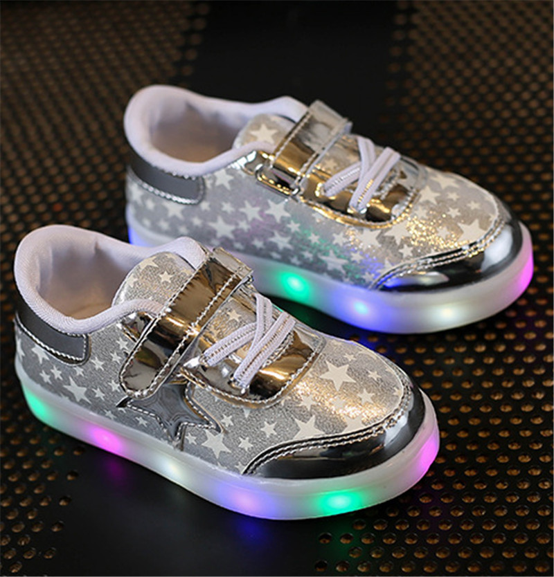 Children Shoes With Light Up 17 Star Printed Unisex Led Light Kids Baby Girls Boys luminate Sneakers Size 21-30 6