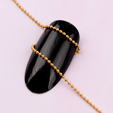 2017 High Quality Width 1mm Length 1m Japanese 3D Gold Nail Metal Chain DIY Steel Ball Nail Chain Punk Style Nail Art Decoration