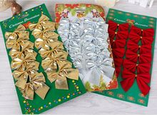 24 pcs/set Hot Sale Christmas Tree Decoration Red / Gold / Silver Bowknot Ornaments Bow Xmas New Year Decoration