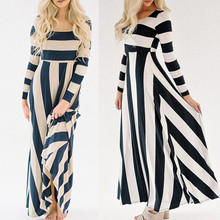 Buy KLV 2017 Womens Long Maxi Dress Ladies Stripe Casual Long Sleeve Dress#20 for $21.35 in AliExpress store
