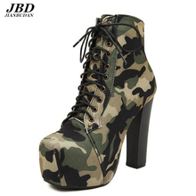 Increase the height  waterproof platform fashion female boots 2017 new casual camouflage cloth bare boots, high-heeled boots