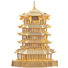 Yellow Crane Tower Fun 3D Metal DIY Miniature Model Kits Puzzle Toys Children Educational Boy Hobby Building(China)