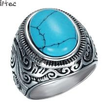 Punk Gothic Carved Flower Natural Oval Turquoises Rings Men's Women's Stainless Steel Ring Wholesale Jewelry Plus Size 8-12
