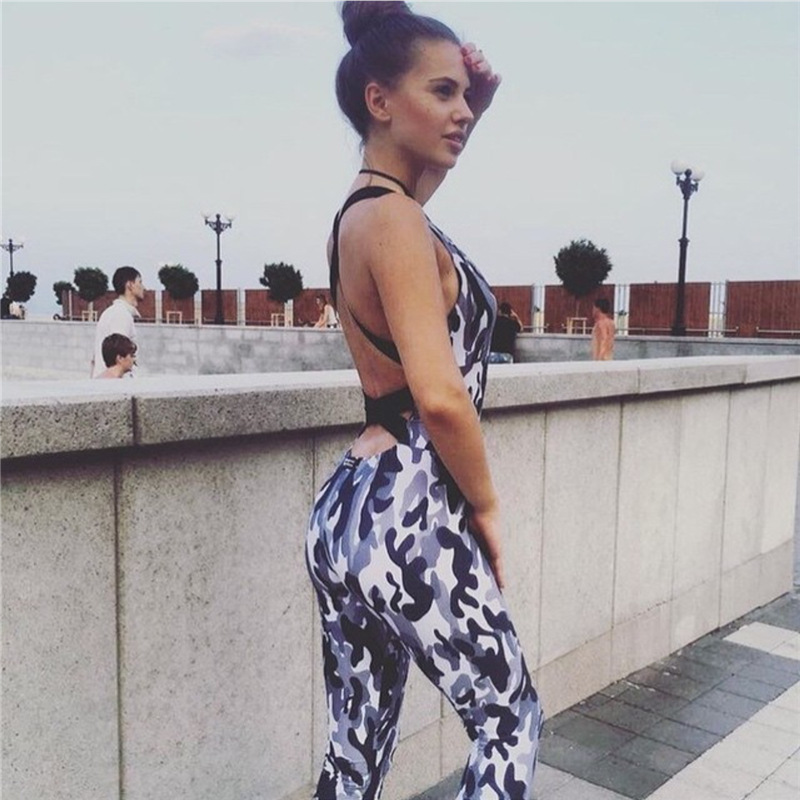 2017 Fashion Camouflage Sexy Sporting, European Women's New Backless Casual Jumpsuit, Bodysuit 3
