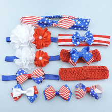 10pcs/set Mix Style Girls Headwear Independence Day Family Celebration Hairbows and Headbands Set Handmade Boutique Headbands