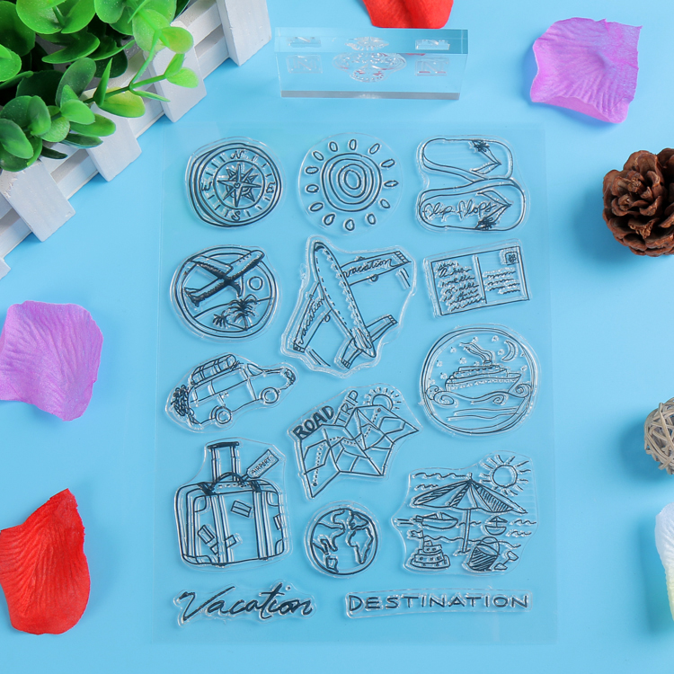 2016 NEW Clear Stamps Rubber Seal Travel Series Plane Sun Compass Pattern DIY Scrapbooking Album Card Photos Stamp Sheet<br><br>Aliexpress
