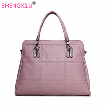 Shengxilu genuine leather women handbags spring female shoulder bag fashion ladies totes big brand ipad pink crossbody women bag