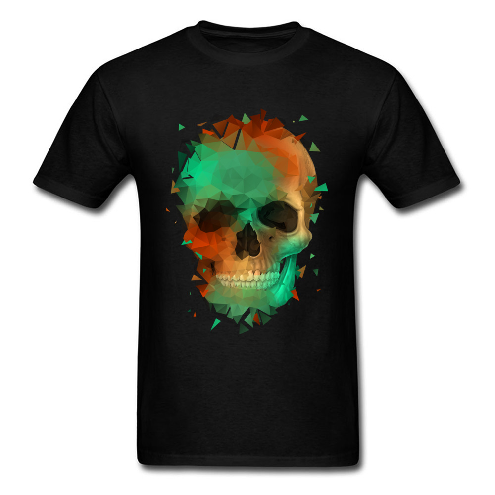 Geometry Reconstruction Skull 100% Cotton Tees for Men Design T Shirts comfortable Prevalent O-Neck Tops Shirts Short Sleeve Geometry Reconstruction Skull black