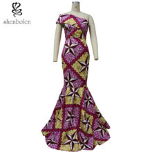 Africa Clothing lady wedding dress evening dress female wax fabric dress  women fashion sexy African batik fabric dress fbdc2961140c