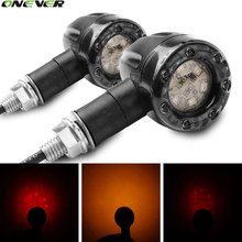 2Pcs Motorcycle Turn Signal Light Brake Stop Lights 12V 13LED Amber And Red Indicator Lamp For Harley Chrome Scooter