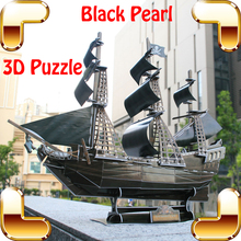 New Year Gift Black Pearl 3D Puzzles Model Ship Building Kits Family Game Easy Assemble Toys Edutainment Stereopsis Training