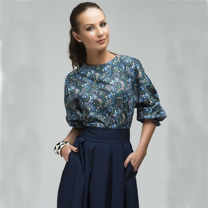Spring New Fashion Printed Stitching Pleated Dress O-Neck 3/4 Lantern Sleeve Elegant Party Retro Dress (Us 4-16)